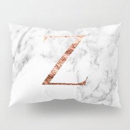 Monogram rose gold marble Z Pillow Sham