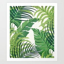 Green tropical leaves II Art Print