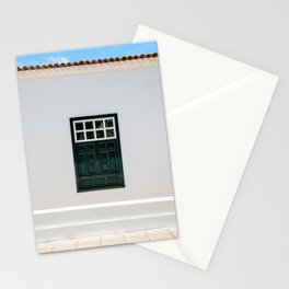 Green window architecture| Yaiza Lanzarote | Minimal fine art travel photography | Stationery Cards