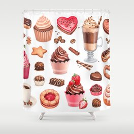 Coffee, chocolate eclair, cinnamon bun and cupcakes illustrations Shower Curtain