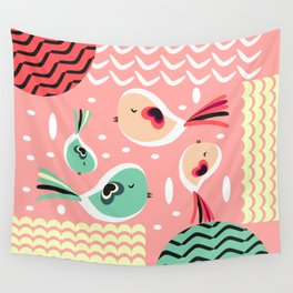 Funny birds in pink and blue Wall Tapestry