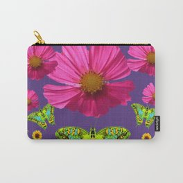 FUCHSIA COSMO FLORALS GREEN MOTHS SUNFLOWERS Carry-All Pouch