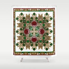Kaleidoscope No. 30 Emeralds, Rubies and Diamonds Shower Curtain