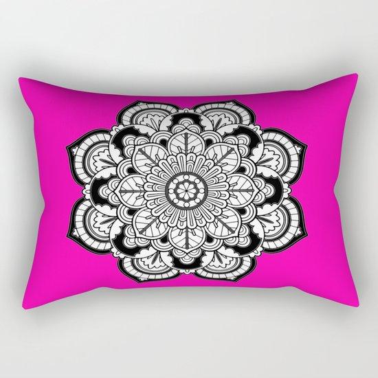 Black and White Flower in Magenta Rectangular Pillow