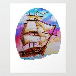 ship watercolor Art Print