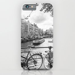 Bicycles parked on bridge over Amsterdam canal iPhone Case