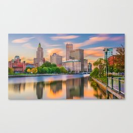 Downtown Providence, Rhode Island Along the Providence River Canvas Print