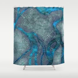 Game map for fantasy world Alien planet Pod's transmission game art Shower Curtain