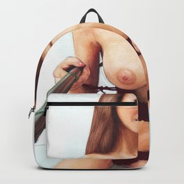 Sexy Nude College Girl With Big Naked Boobs Taking A Selfie Beautiful Home Decor Erotic Wall Art Backpack
