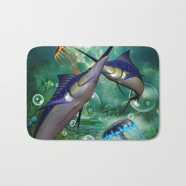 Awesome marlin with jellyfish Bath Mat