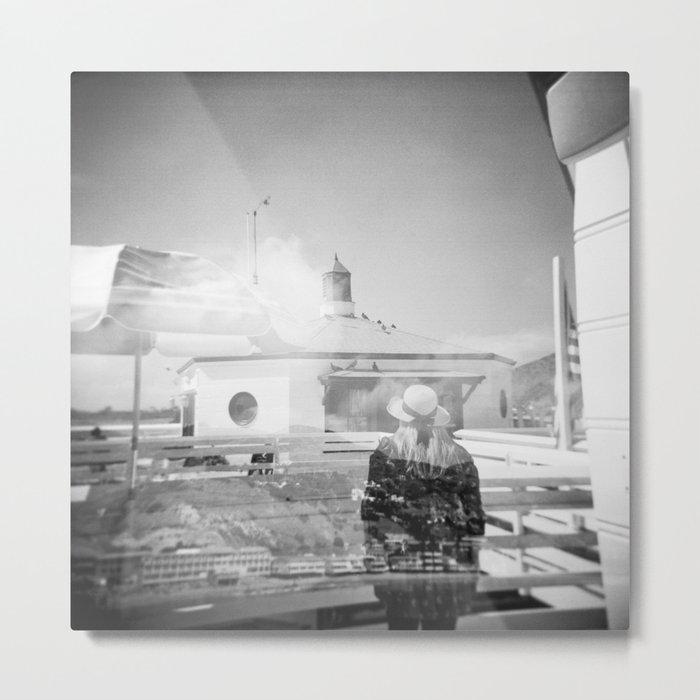 """The Lady of Malibu"" Black and White Holga photo Metal Print"