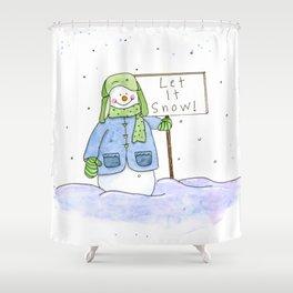 Let it SNOW Snowman Shower Curtain