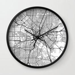 Dallas Map White Wall Clock