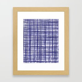 Grid indigo blue bold dramatic modern minimal abstract painting lines gridded pattern print minimal Framed Art Print