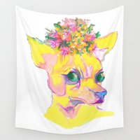 chihuahua Wall Tapestries featuring Frida Chihuahua  by GiGiBunni