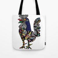 pablo picasso Tote Bags featuring Pablo Picasso - The Cock by T.Grimm