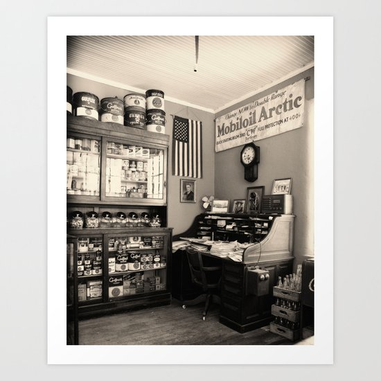 Circa 1930 depression era garage office Art Print