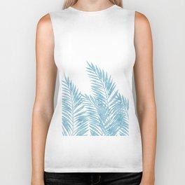 Palm Leaves Light Blue Biker Tank