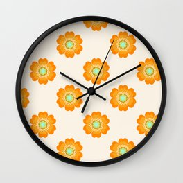 4 Sho - 70's retro 1970's throwback pattern floral flower motif decor hipster Wall Clock