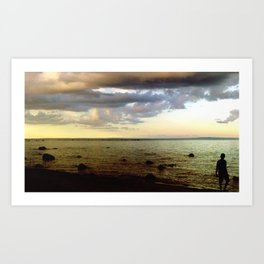 Sunset Beach Boy Art Print