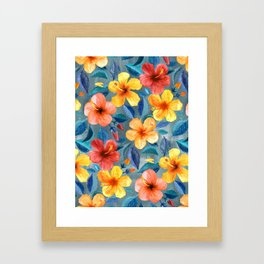 Colorful Watercolor Hibiscus on Grey Blue Framed Art Print