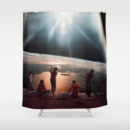 Golfers In Space Shower Curtain