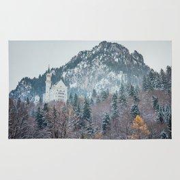 Neuschwanstein Castle with Bavarian Alps in background Rug