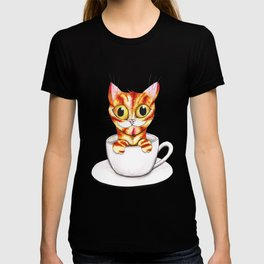 Striped coffee cat T-shirt