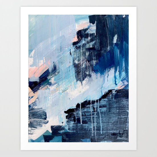 Vibes: an abstract mixed media piece in blues and pinks by Alyssa Hamilton Art by blushingbrushstudio