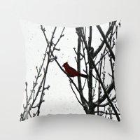 cardinal Throw Pillows featuring Cardinal by Emma Nettles