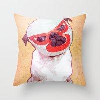 diablo Throw Pillows featuring El Diablo by rubbishmonkey