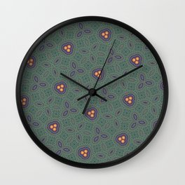 Bohemian Peacock and Leaf Thread Weave Pattern \\ Yellow Green Blue Purple Color Scheme Wall Clock