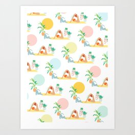 Summer Yoga Pose with Cat and Plants Art Print
