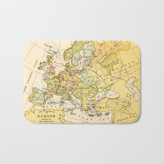 Europe During The 14th Century - Vintage Map Bath Mat
