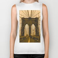 brooklyn bridge Biker Tanks featuring Brooklyn Bridge by Félix Pagaimo