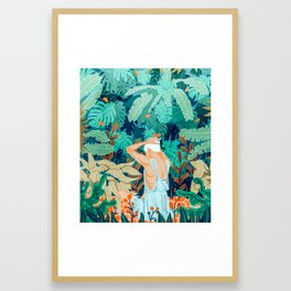 Backyard #illustration #painting Framed Art Print