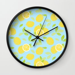 Bright And Sunny And Stamped Lemon Citrus Pattern Wall Clock