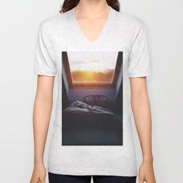 Sunset in bed Unisex V-Neck