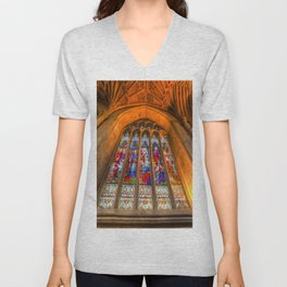 Stained Glass Abbey Window Unisex V-Neck