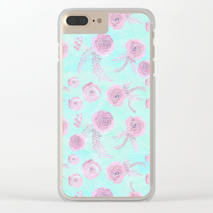 Peony Pattern Pink And Mint Clear iPhone Case