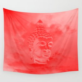 buddha in colored clouds with artificial sun Wall Tapestry