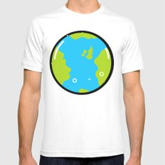 The Earth White Mens Fitted Tee MEDIUM