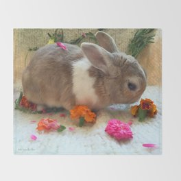 Bunny Eating Edible, Organic Flowers Throw Blanket