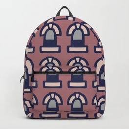 New York Windows Pattern 261 Brown Grey and Blue Backpack