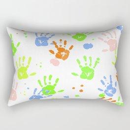 Hand Print Colorful Paint Rectangular Pillow