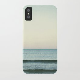 Minimal Ocean Photography, Mint Teal Sea Art, Seasape Photo, Ocean Horizon Waves Print iPhone Case