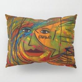 Indigenous Inca Tribal Sun & Floral portrait painting by Ortega Maila Pillow Sham