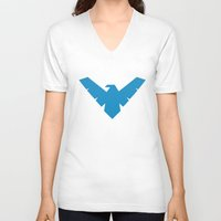 nightwing V-neck T-shirts featuring Minimal Superheroes - Nightwing by AlexR56