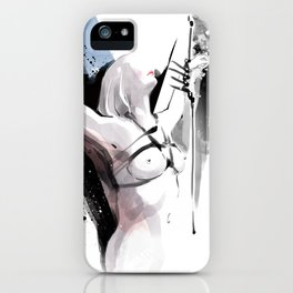 The beauty of tight binding, Naked body tied up to a pole, Nude art, Fine-art shibari rope bondage iPhone Case