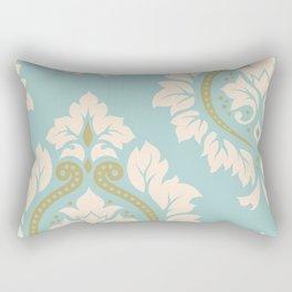 Decorative Damask Art I Cream & Gold on Blue Rectangular Pillow